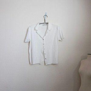 Preview vintage white button front knit polo XL